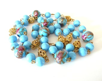 Venetian Wedding Cake Necklace Robins Egg Blue Art Glass Beads 32 Inches from TreasuresOfGrace