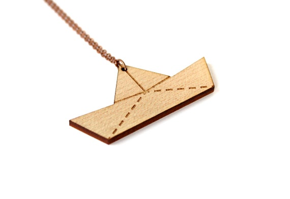 Paperboat necklace - origami boat pendant - graphic sailor jewelry - lasercut maple wood - nautical jewellery - beach - summer - resort