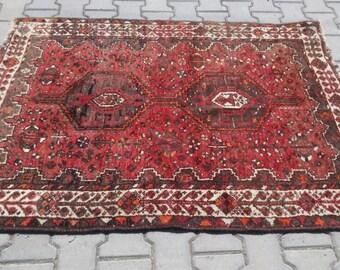 Vintage red carpet,Beautiful red rug,kurdish persian carpet, trible rug,shiraz carpet,