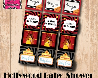 DIY Printable Hollywood Baby Shower Cupcake Toppers/ accent labels