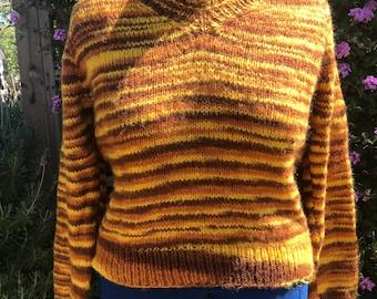 Vintage 1970s Hand-Knit V-Neck Sweater