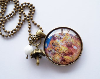 Art Pendant Necklace - Claude Monet Garden At Vetheuil - You Choose Bead and Charm - Custom Jewelry - Art Jewelry - French Art - Customized