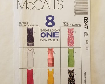 Semi-Fitted Sleevless Dress McCall's UNCUT Pattern 8247 Sizes 4, 6, 8