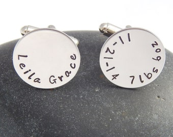 Personalized Cuff Links - Birth of New Baby Proud Father Cufflinks Name Date Weight