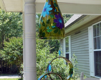 """Wind Chime, """"Ocean Flowers"""" , made from recycled wine bottle -  fashioned  into a Wine-Chime!"""