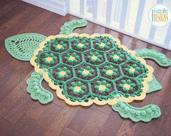 Handmade Crochet Turtle Rug - READY to SHIP