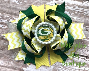 Green Bay Packers Boutique Bow| Packer's Bow| Green Bay Hairbow