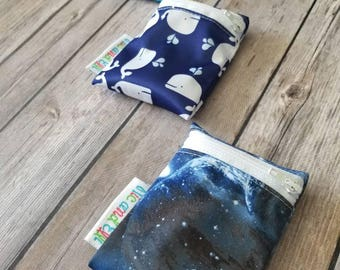 Wet bag Set of 3 ~ Travel Size Mini Zippered Space WetBag ~ Binky Bag ~ Cosmetic Purse Bag