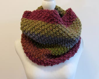 Chunky Knit Circle Scarf - Striped Knit Cowl - Chunky Knit Scarf - Oversized Cowl - Gift for Her - Handmade in Alaska - Alaskan Knit Gifts