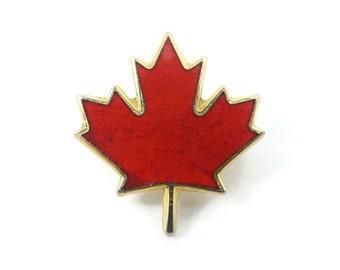 Vintage, Red Maple Leaf, Pin, Enamel, Gold Tone, Signed