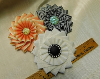Pinwheel Cocardes With Glass Buttons Lapel Pins