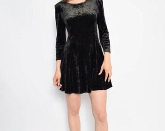 Vintage 90's  Black Velvet Long Sleeve Dress  - Size Medium