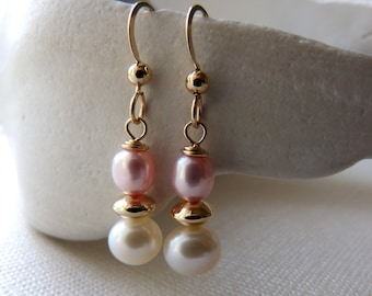 Pink and white freshwater pearl 14k gold fill earrings.