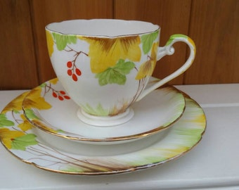 ROYAL GRAFTON  bone china trio +1 tea cup saucer tea plate and side plate 1950s china / English china /springtime colours/ships worldwide