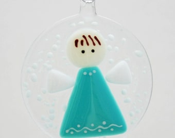 Glassworks Northwest - Angel in a Snow Turquoise - Fused Glass Ornament