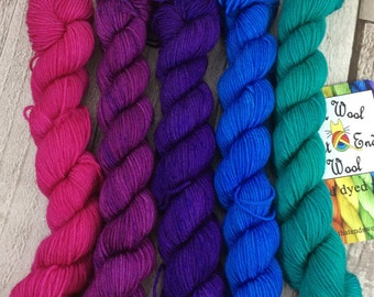 Hand dyed yarn mini skeins semi solid merino/nylon Superwash yarn/wool /Uk dyer/ knit/ crochet/ mini set