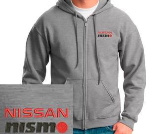 NISSAN NISMO Emboidered Hoodie GRAY Full Zip Hooded Sweatshirt New