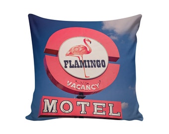 READY TO SHIP | Flamingo Motel 18x18 Pillow Cover | Motel Sign Pillow | Mid Century Pillow | Decorative Pillow Cover | Palm Springs Decor