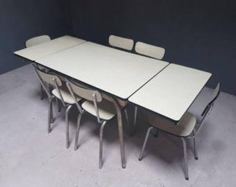 Retro dining table with 7 chairs