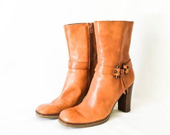 Leather boots - Women's cognac leather ankle Boots - Cognac leather ankle boots - Women's size 6 leather boots - Brown boots - Boho boots