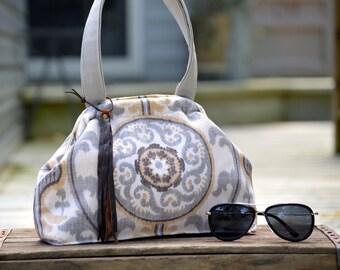 Earthy Grey Bag . Unique Carpet Bag Purse. Camera Bag Circle. Leather Fringe