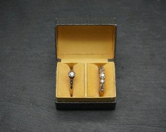 Vintage Double Ring Box / Wedding Set Ring Box with Velvet