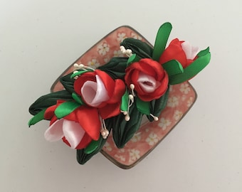 Red White Flower Hair Clip, Red White Flower Barrette, Red White Flower Hair Accessories