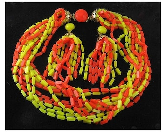 1960s Multi Strand Heat Sealed Plastic Beads Necklace & Matching Tassel Earrings, Orange and Yellow, Mod Hippie