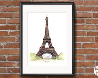 "Printable Art "" Eiffel Tower - Paris ""  Travel Wall Art   Home Decor   Watercolour   Illustration   Landmarks   Cities"