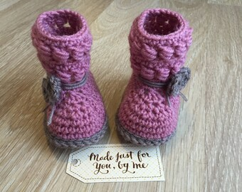 Crochet Baby Girl Willow Booties, Gift Idea for Baby Shower, Pregnancy Announcement and Gender Reveal to Grandparents, Family and Friends