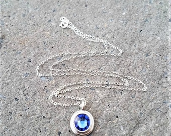 Swarovski Crystal Necklace, Blue Swarovski Crystal Pendant Necklace, Swarovski Sapphire  Crystal Necklace, Round Crystal Necklace