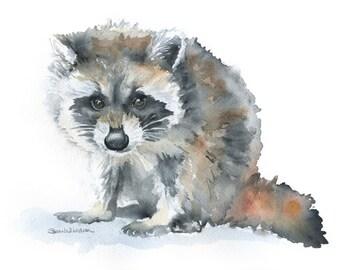 Raccoon Watercolor Painting - 7 x 5 - Giclee Print - Nursery Art - Woodland Animal