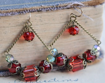 Red Antique Earrings / Czech Glass Beads / Brass / Neo Vintage Jewelry