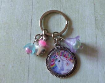 Multicolor Unicorn Keyring