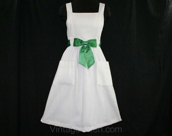 Size 6 Summer Dress - Mollie Parnis 1960s White Linen Sun Dress - Emerald Green Satin Sash - 1960s Designer Deadstock - NWT - 41640