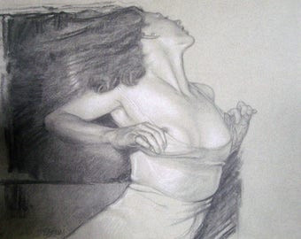 """Beautiful """"UNDONE"""" Charcoal  Drawing 9"""" by 12"""" Giclee PRINT of original and free shipping!"""
