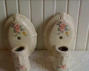 Pair of 1920's Porcelain Wall Sconces /Flowered Oval Shape with Pull Chain