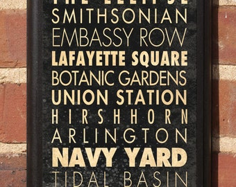 Washington, DC Points of Interest Destinations Wall Art Sign Plaque Gift Present Home Decor Vintage Style Capitol Georgetown Potomac Classic