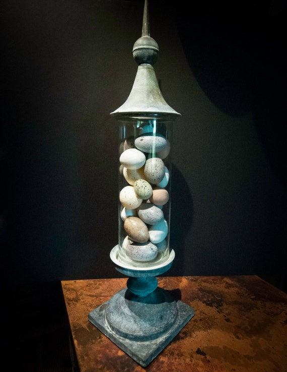 Large Vintage Lead Finial and Base with Glass Cylinder and Faux Eggs