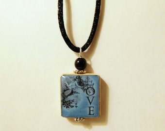 LOVE Pendant / Inspirational - Uplifting / Scrabble Jewelry / Necklace with Satin Cord / Charm / Beaded / Blue and Black