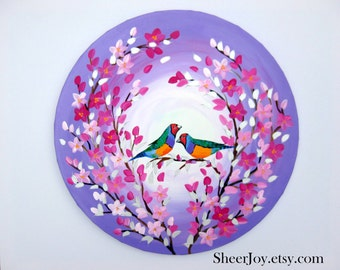 finch gift, finches, with, finch, 2 birds, painting of finches, gift for wife, purple and pink painting, with cherry blossom, Australia, 20""