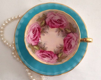 Aynsley Cabbage Rose China Tea Cup & Saucer