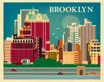 SALE Brooklyn 8x10 Print Skyline, Brooklyn NY Wall Art, Brooklyn Gift, Brooklyn Decor, Loose Petals City Art - style E8-O-BRO