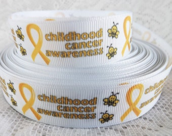 Childhood cancer Ribbon 7/8 inch grosgrain ribbon Childhood cancer awareness ribbon