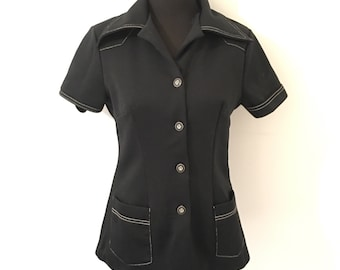 70's vintage black shirt with a large POINTED COLLAR
