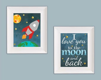 Outer Space Rocketship I Love You to the Moon Wall Art Paper Prints Set