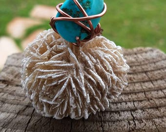 Turquoise in copper ring