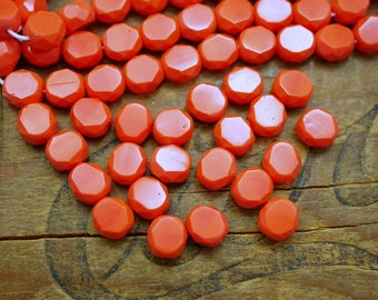 Glas Bead Table Cut Czech bead 8mm Coral Orange Bead (12)