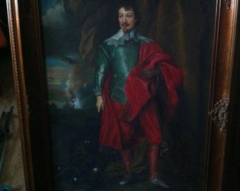 Sale! Was 499.00 Robert Rich, Second Earl of Warwick-Reproduction Oil Painting-Originally Painted by Anthony Van Dyck, Flemish Painter