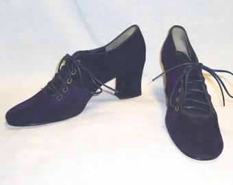 NOS Vintage Women's Deep Purple Suede Mod Hippie Disco Lace Up Heels Shoes - Size 7 1/2 AA